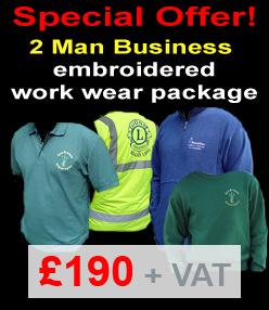 2 Man Business Offer – custom printed-embroidered work wear package