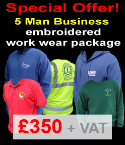 5 Man Business Offer – custom printed-embroidered work wear package