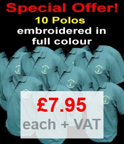 10 Polo Shirts Embroidered in Full Colour from your design